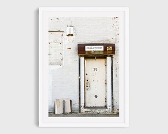Brooklyn Art Print, Industrial Door in Red Hook, New York City Photography, Urban Wall Art, White Art for Gallery Wall