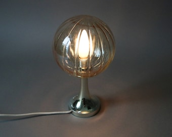 Vintage tulip lamp, silver lamp, balloon lamp, eames lamp, modernist lamp, Mid Century Modern, silver table lamp, glass lamp shade, 70s lamp