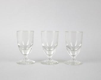 Vintage wine glasses, 50s french wine glass, set of 3 glasses, Apero glasses, bistro, aperitif glasses, Mid-Century Modern