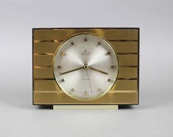 Vintage German clock, Junghans Ato-Mat clock, mantelpiece clock, 60s office clock, starburst clock, gold silver brass sunburst office clock