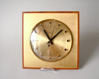 Vintage East German Weimar Quartz clock wall clock Made in Germany 50s 60s square kitchen clock golden clock face brass marine navy office