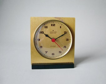 Vintage German Junghans ATO-MAT Quartz clock table clock Made in Germany 50s 60s square office clock golden brass clock face Bauhaus style