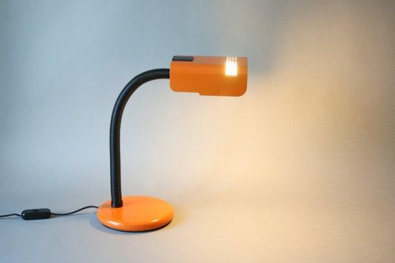 Lampe de bureau italien noir vintage orange col de cygne etsy