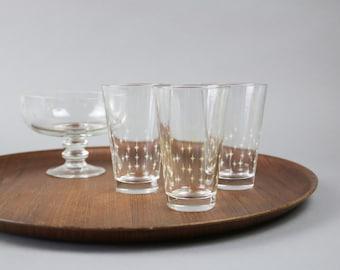 Vintage water glasses, 70s longdrink glasses, set of 3 glasses, starburst design, Mid Century modern, made in Italy, cocktail party
