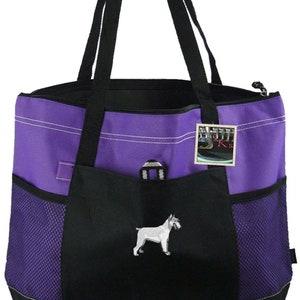 Free Name Puppy /& Ice Cream Cone Monogram Bag Gemline Zippered Tote Funny Dog Custom Embroidered