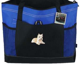 Cute Norwich Terrier Show Dog Gemline Select Zippered Tote Custom Embroidered + Name Doggy Daycare Pet Travel Bag