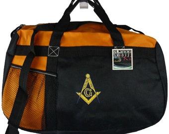 1e6b034158 Masonic Square   Compass Freemason Monogram Gym Bag Gemline Sequel Duffel  Bag Custom Embroidered + Free Name