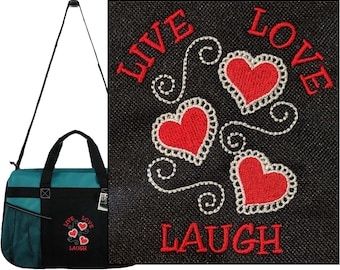 Live Love Laugh Gemline Sequel Sport Duffel Valentine Wedding Bag  Embroidered + Free Name 7ebd955768fe6
