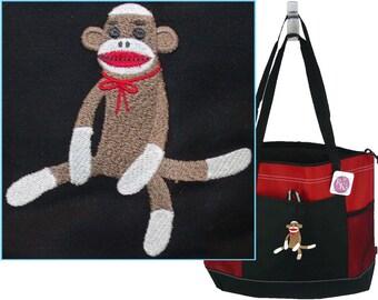 Funny Christmas Dog Gemline Select Zippered Holiday Tote Bag Monogram Custom Embroidered Free Name