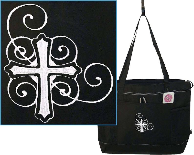 Cross /& Swirls Gemline Select Zippered Tote Pastor Officiant Clergy Religious Sunday School Teacher Bag Free Name