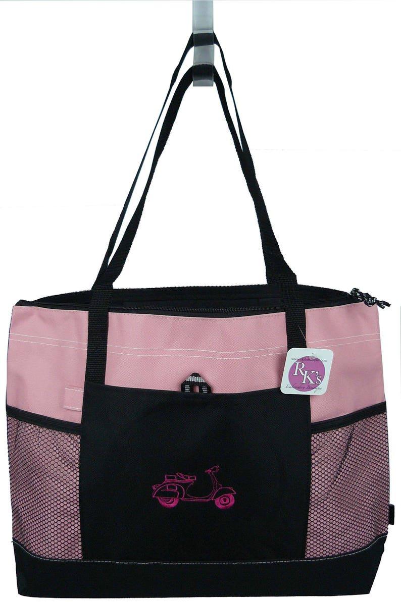 Hot Pink Scooter Motorbike Monogram Bag Gemline Select Zipper Tote Custom Embroidered