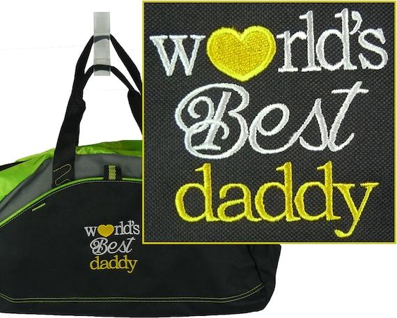 db5d0fdbd3a0 World's Best Daddy Monogram Gym Duffle Father's Day Birthday ...