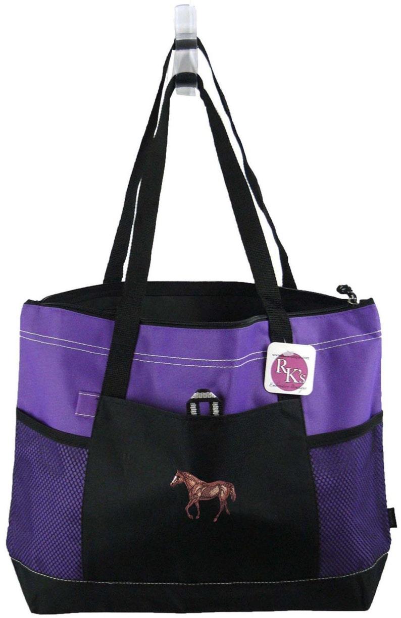 Name Custom Monogram Embroidered Graceful Quarter Horse Monogram Bag Gemline Select Zippered Tote