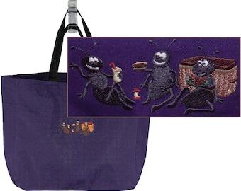 Picnic Ants Monogram Bag Purple READY TO SHIP! Watermelon Sandwich Apple Custom Embroidered Cute Essential Tote