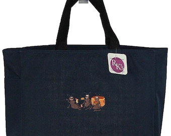 Picnic Ants Monogram Bag Navy READY TO SHIP! Watermelon Sandwich Apple Custom Embroidered Cute Essential Tote