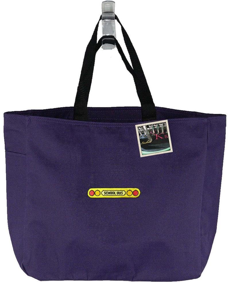 School Bus Lights Monogram Bag Custom Embroidered Essential Tote Teacher School Class Gift