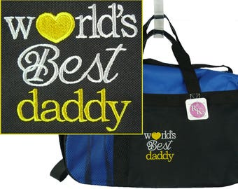 World's Best Daddy Gemline Sequel Sport Duffel Father's Day Bag Custom Embroidered + Free Name