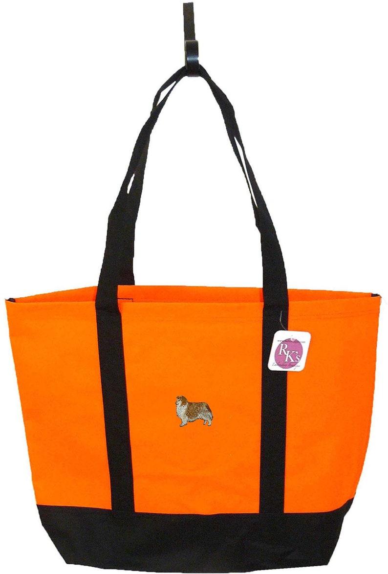Sheltie Shetland Sheepdog Monogram Day Tote Bag Doggy Daycare Free Pet Name Custom Embroidered