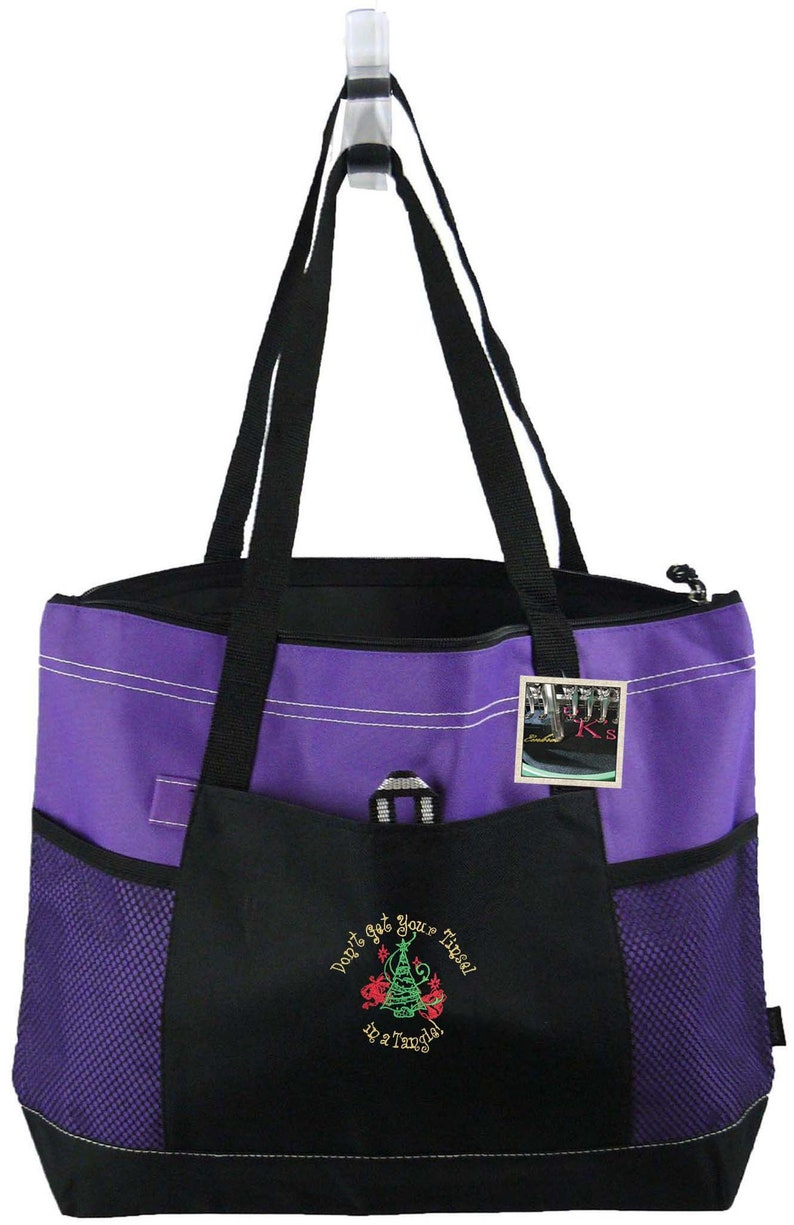 Don/'t Get Your Tinsel In A Tangle Funny Christmas Bag Gemline Select Zippered Tote Custom Embroidered Free Name