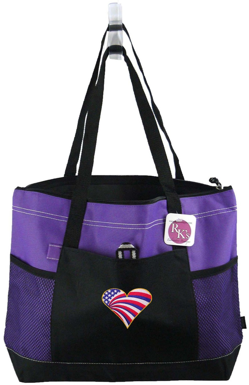 Free Name Flag Heart Patriotic Embroidered Veteran/'s Labor Day Gemline Select Zippered Tote Bag
