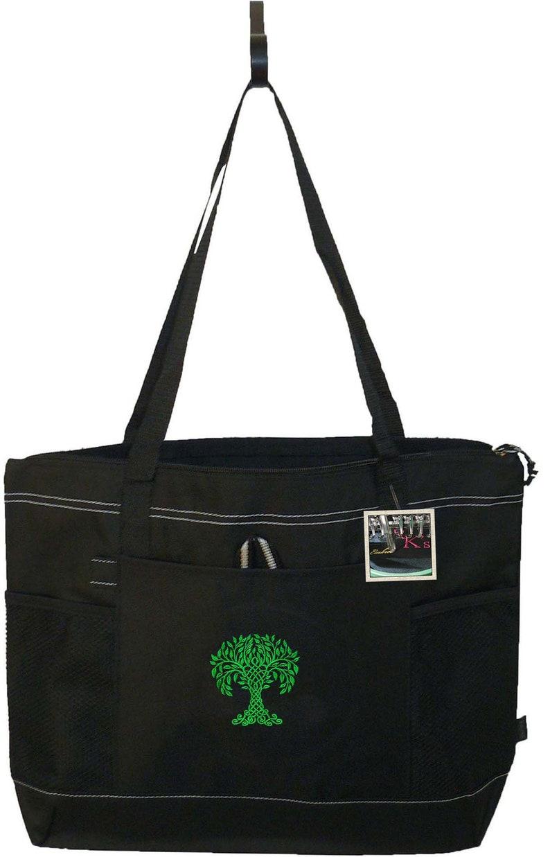 Free Name Custom Embroidered Celtic Tree Gemline Select Zippered Tote Bag Monogram Irish Ireland