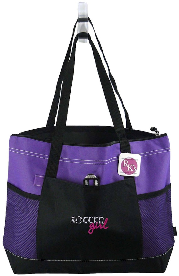 Soccer Girl Gemline Select Zippered Tote Bag Monogram Custom Embroidered Name
