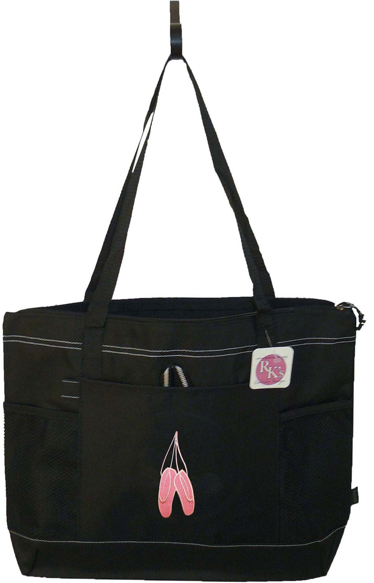 ballet shoes monogram ballerina bag black ready to ship! gemline select zippered tote dancing instructor gift custom embroidered