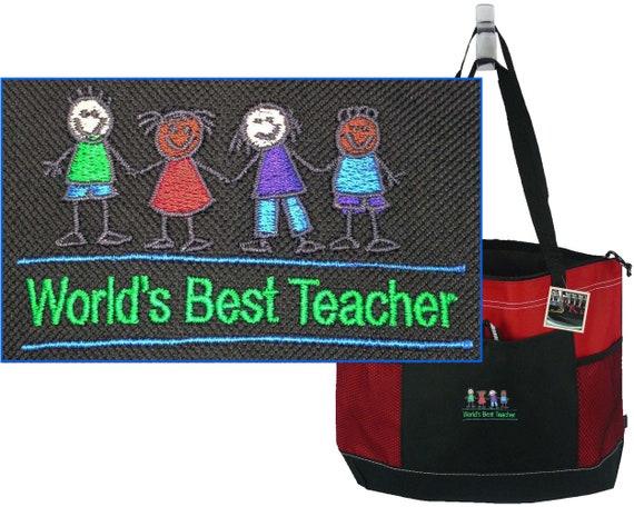 894fd357b67 World s Best Teacher Gemline Select Zippered Tote   Etsy