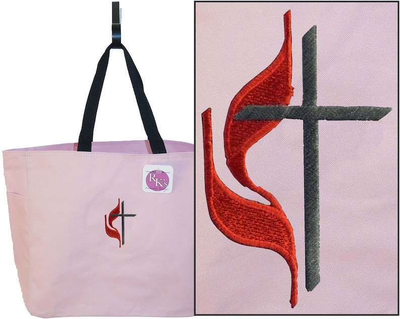 Methodist Cross /& Flame Monogram Bag Free Lettering Custom Embroidered Essential Tote Bag Deacon Deaconess Gift