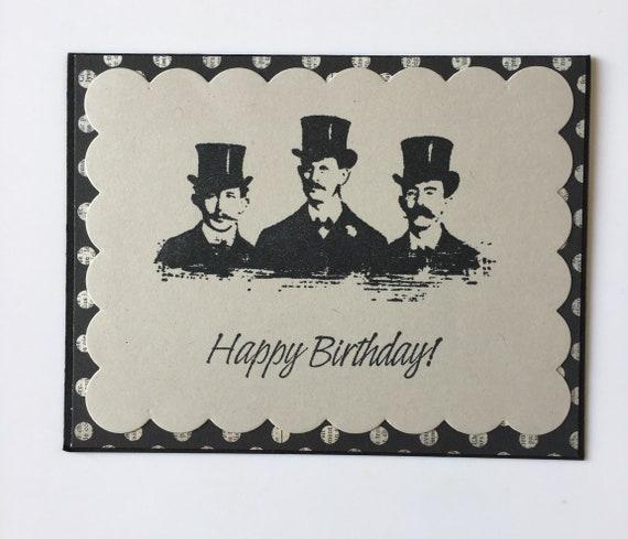 masculine happy birthday handmade vintage style card etsy