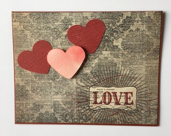 Love Wedding Anniversary Hearts Fiancé Mr. and Mrs. Girlfriend Boyfriend For Her For Him Handmade Handcrafted Unique Greeting Card