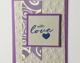 With Love Wedding Anniversary Encouragement For Her For Him Girlfriend Boyfriend Handmade Handcrafted Unique Card