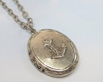 Silver Anchor Locket Anchor Necklace Pendant Antiqued Silver Brass Nautical  Anchor Locket 7b071ebcda5f