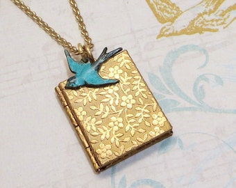 Book locket etsy book locket brass book locket floral locket blue bird locket bluebird locket petite locket bird necklace bird pendant turquoise bridesmaid aloadofball Images