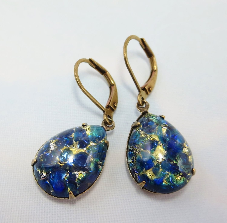 blue fire opal earrings sea blue sapphire blue opal. Black Bedroom Furniture Sets. Home Design Ideas
