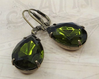 Olivine Green Earrings Olive Green Crystal Earrings Vintage Glass Jewels Victorian Earrings Old Hollywood Glamour Estate Style Jewelry Gift