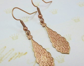 Rose Gold Art Deco Earrings Victorian Ear Dangles Brass Filigree Lace Earrings Teardrop Earrings