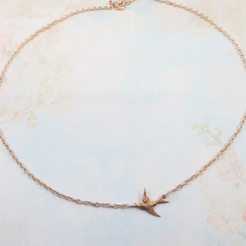 Rose Gold Bird Necklace Rose Gold Necklace Bird Necklace Bird Jewelry Shabby Chic Nature Bridal Wedding Gift