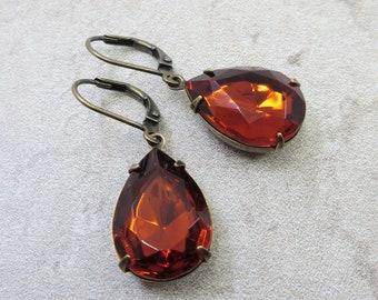Madeira Topaz Earrings Crystal Earrings Topaz Earrings Vintage Glass Jewels November Birthstone Jewelry Gift
