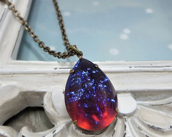 Dragons Breath Necklace Mexican Opal Necklace LARGER SIZE Pendant Fire Opal Jewelry Gift