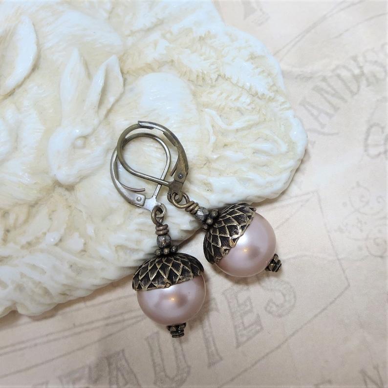 Pearl Acorn Earrings Rustic Nature Wedding Fall Autumn Jewelry Gift