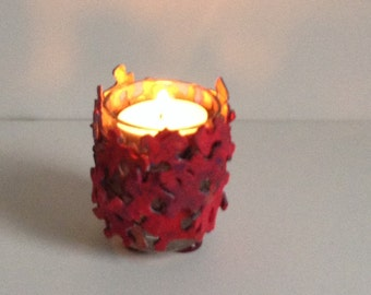 Red Votive Candle Holder made of Jigsaw Puzzle Pieces