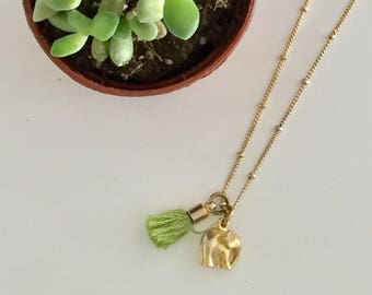 Tiny Gold Elephant and Mini Tassel Necklace / Good Luck Necklace / Tassel / FREE SHPPING