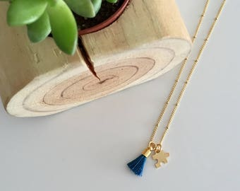 AUTISM Awareness Necklace | Tiny Gold Puzzle and Mini Tassel Necklace / 25% profit donated to Grant a Gift Autism Foundation | FREE SHPPING