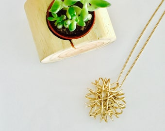 Necklace Long Gold With Interlaced Gold Sun Charm - Beach - Summer