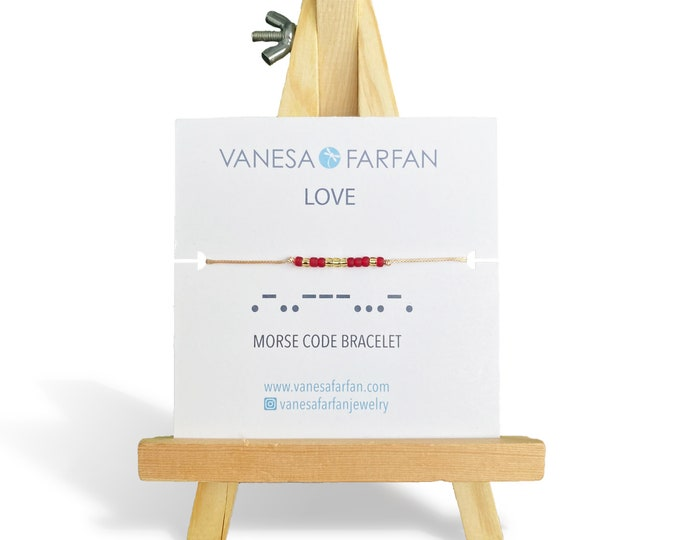 Featured listing image: LOVE Morse Code Bracelet | Bracelet with a Message | Friendship Bracelet | Affirmation Bracelet