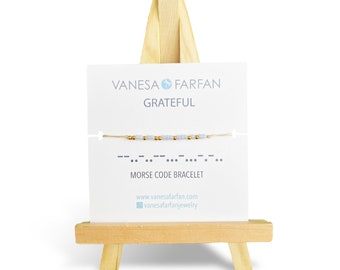 GRATEFUL | Morse Code Bracelet | Bracelet with a Message | Friendship Bracelet | Affirmation Bracelet
