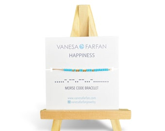 HAPPINESS | Morse Code Bracelet | Bracelet with a Message | Friendship Bracelet | Affirmation Bracelet