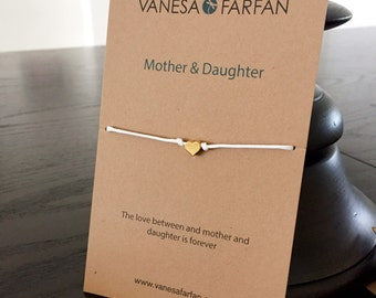Friendship Bracelet Mother & Daughter Tiny Silver or Gold Heart, For Kids, Girls and Women, Adjustable, 16 colors