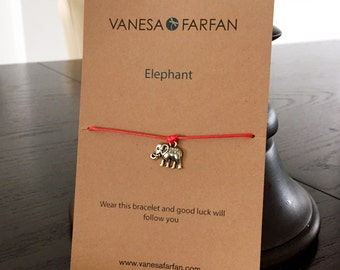 Friendship Bracelet, Elephant, for Kids, Girls and Women, Wish Bracelet Adjustable, 16 Colors